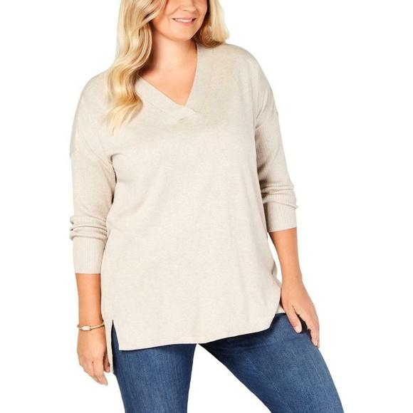 Style & Co Sweaters - Style & Co Women's Beige Hi-Low V Neck Sweater